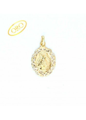 Medalla Virgen de la Cabeza oro oval  bisel rocallas 16x28mm