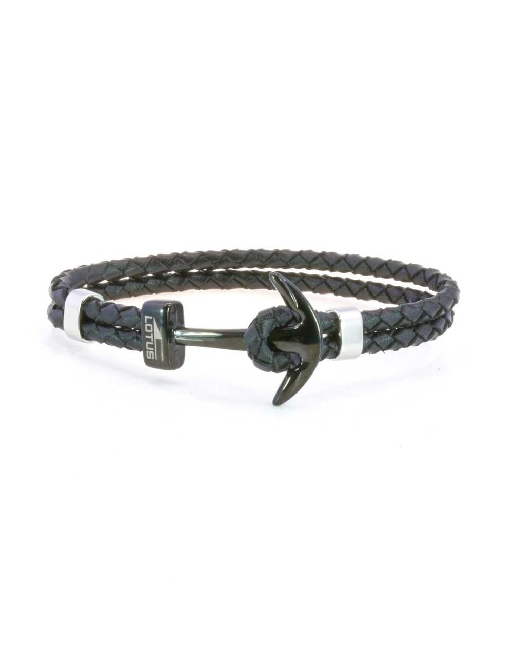 f7717df8971f Pulsera Lotus ancla negra acero y cuero trenzado negro LS1832-2-6