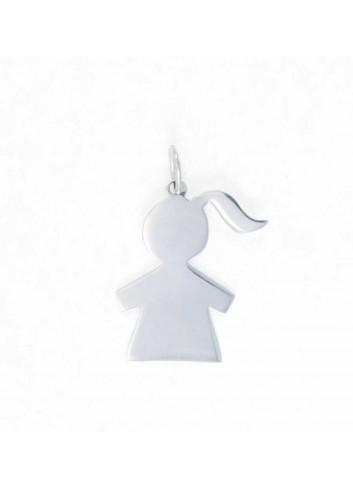 Colgante niña silueta lisa plata 2x3,1