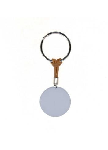 llavero-redondo-personalizable-acero-y-cordon-marron-claro
