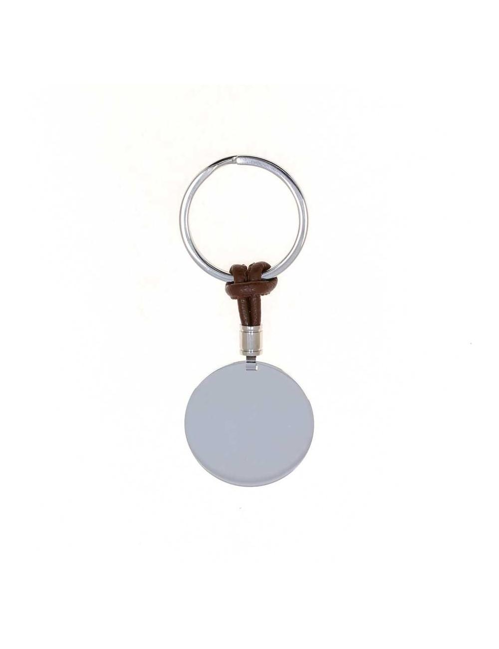 llavero-redondo-personalizable-acero-y-cordon-marron-oscuro