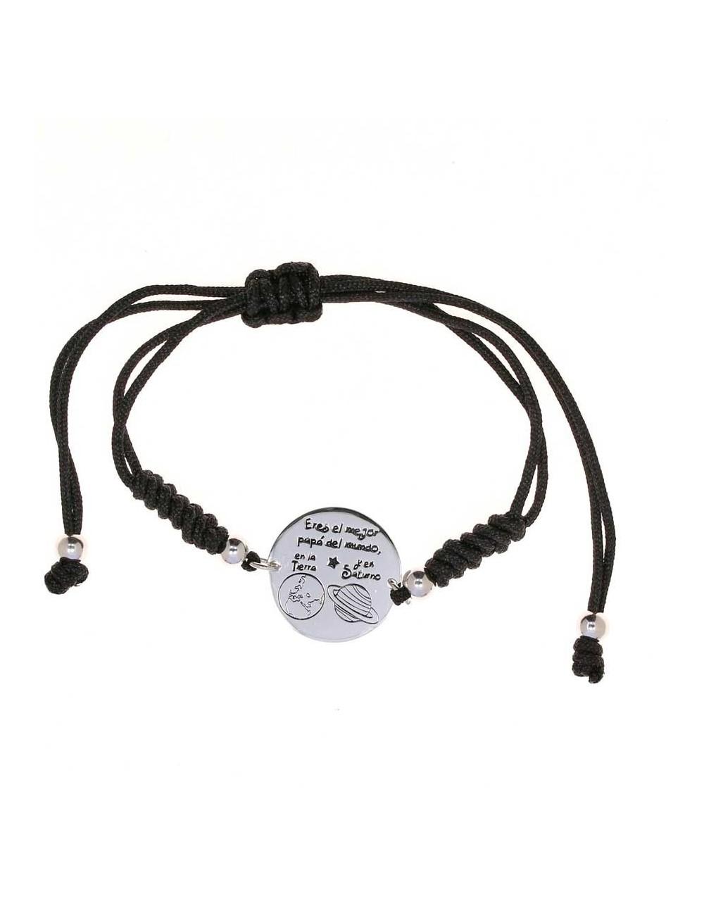 pulsera-eres-el-mejor-papa-delmundo-cordon-negro-ajustable