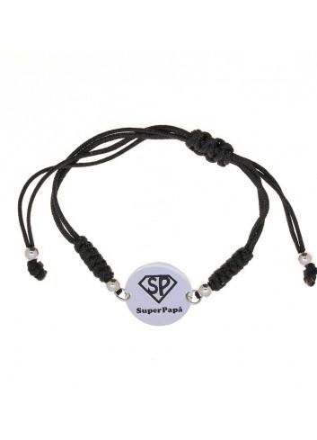 Pulsera SUPER PAPÁ circulo plata cordón negro ajustable