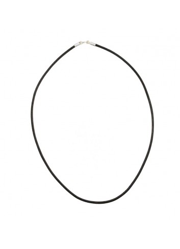 Cordón cuello cuero 2 mm negro 40 cm largo