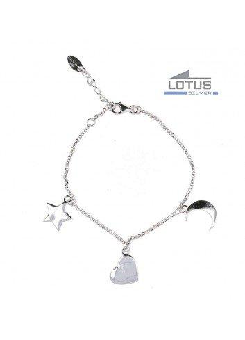 Pulsera Lotus plata ESTRELLA CORAZON LUNA LP1645-2-1