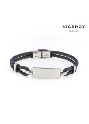 pulsera-viceroy-fashion-hombre-acero-cuero-trenzado-negro-6303p01010