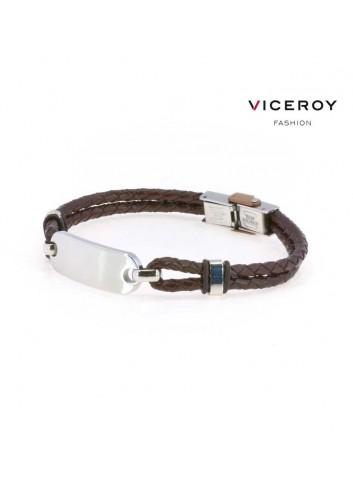 pulsera-viceroy-fashion-hombre-acero-cuero-trenzado-marron-6303p01011