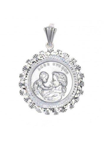 Medalla de la madre bisel conchas plata