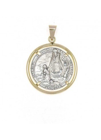 Medalla aparición Virgen de la Cabeza plata y oro bisel redondo