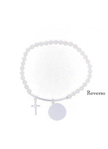 Pulsera comunión perlas Cruz y placa plata