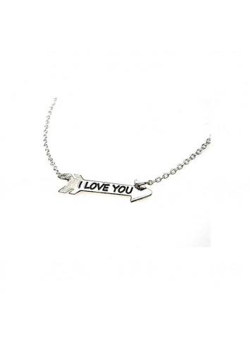 3d694b3e8879 Gargantilla I LOVE YOU flecha plata