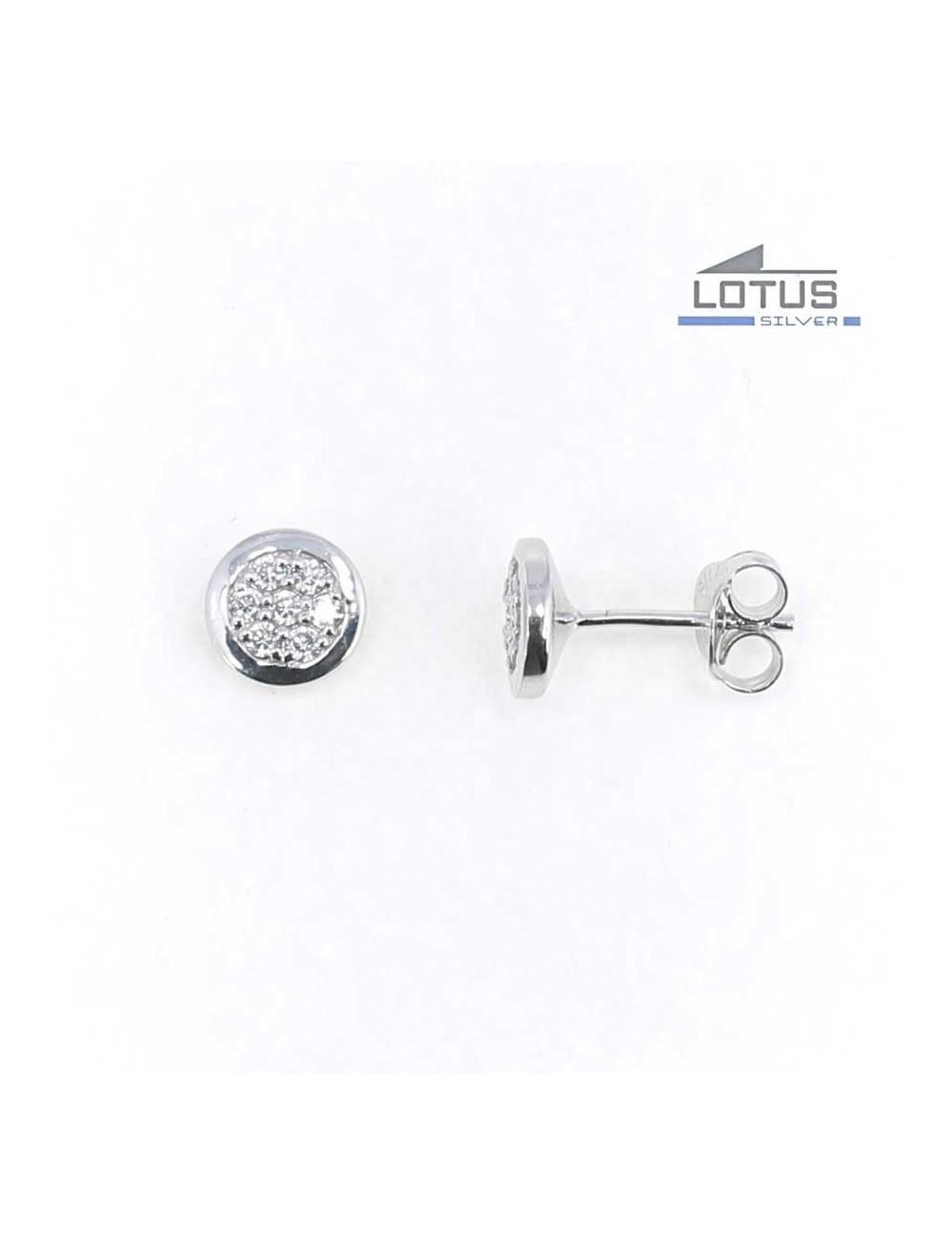 Pendientes Lotus Silver redondos circonitas LP1712-4-1