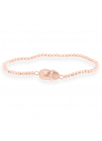 Pulsera Luxenter zapato bebe plata chapada oro rosa elástica bolas