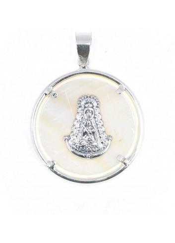 Medalla Virgen del Rocío plata nácar bisel redondo 3,5 cm