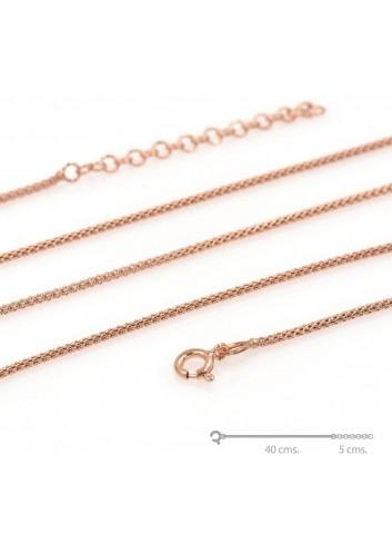 Cadena plata 40+5 cm chapada oro rosa coreana 1,5mm
