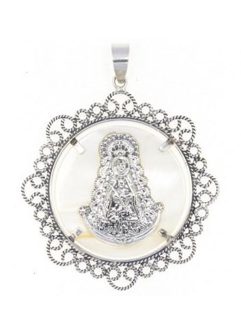 Medalla Virgen del Rocío plata bisel filigranas 5,2 cm