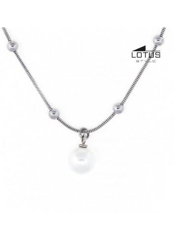 Gargantilla Lotus Style con perla y cadena bolas acero LS1851-1-1