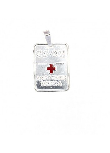 Colgante placa grupo sanguineo cruz roja plata