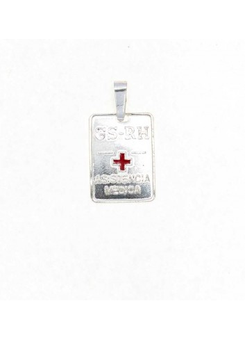 Placa cruz roja grupo sanguíneo plata