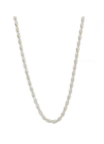 Cadena plata cordón salomonico 60 cm 3,4mm
