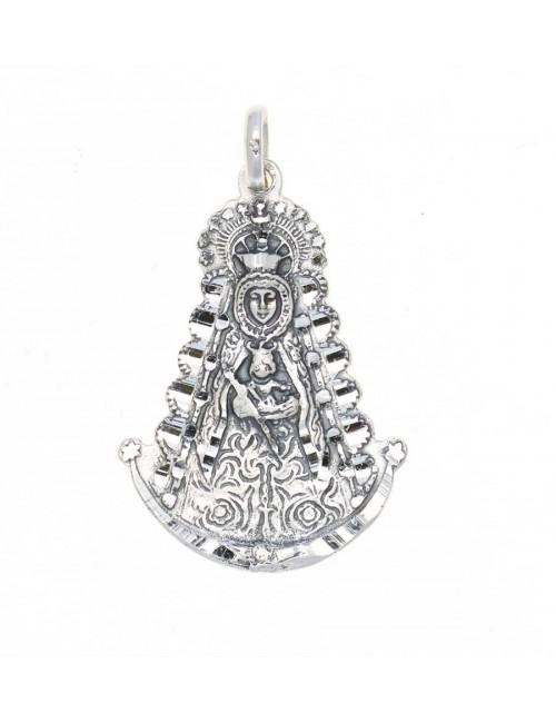 Medalla Virgen del Rocío plata resplandor