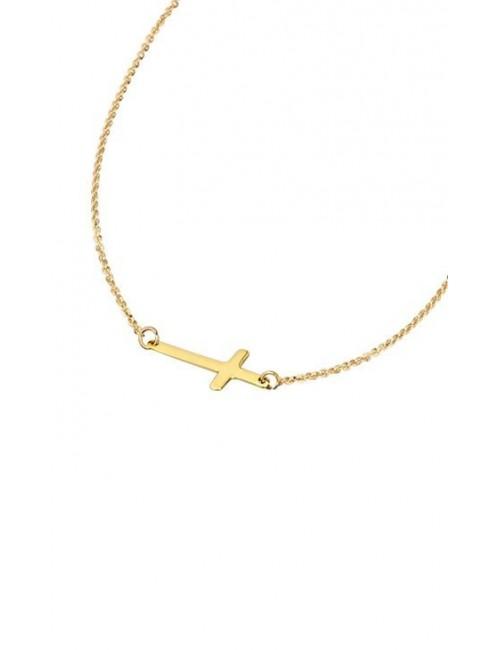 Gargantilla cruz plata chapada en oro amarillo Lotus Silver LP1223-1/1