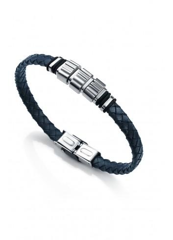Pulsera hombre cuero trenzado azul oscuro Viceroy 6351P09013