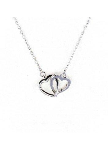 Gargantilla 2 corazones plata circonitas enlazados sueltos