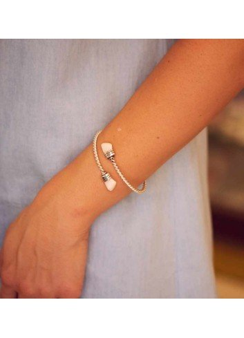 pulsera rizada perla venado plata