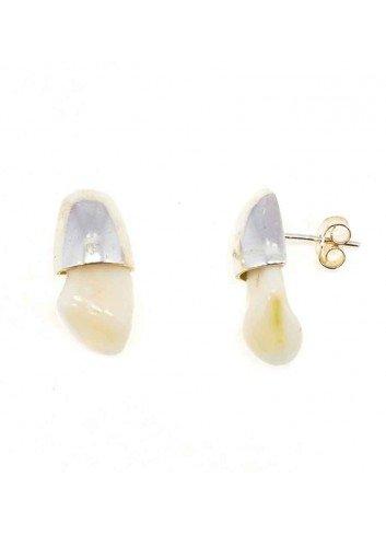 Pendientes perla venado plata