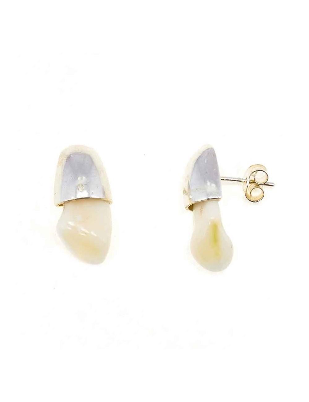 45dd0fd7f988 Pendientes perla venado plata