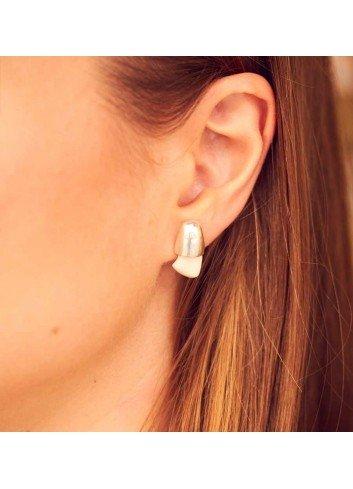Pendientes perla venado plata cinegeticos