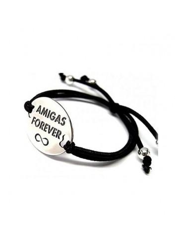 """Pulsera """"Amigas Forever"""" en goma elastica y plata"""