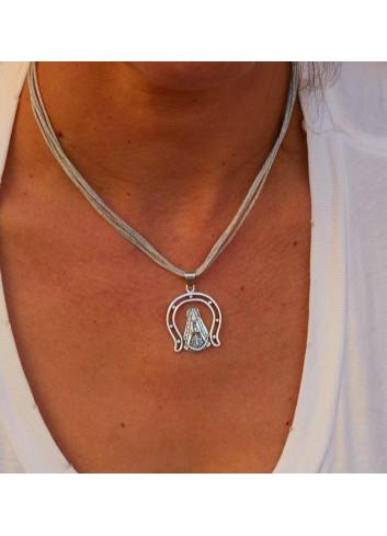 Medalla Virgen Rocío herradura plata