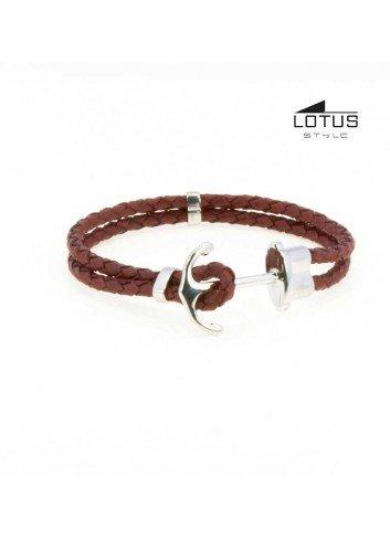 Pulsera  Lotus ancla acero y cuero trenzado marrón claro LS1881-2-4