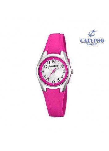 Reloj Calypso niña goma fucsia redondo K5750-2