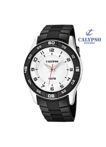 Reloj Calypso hombre goma negro redondo K6062-3