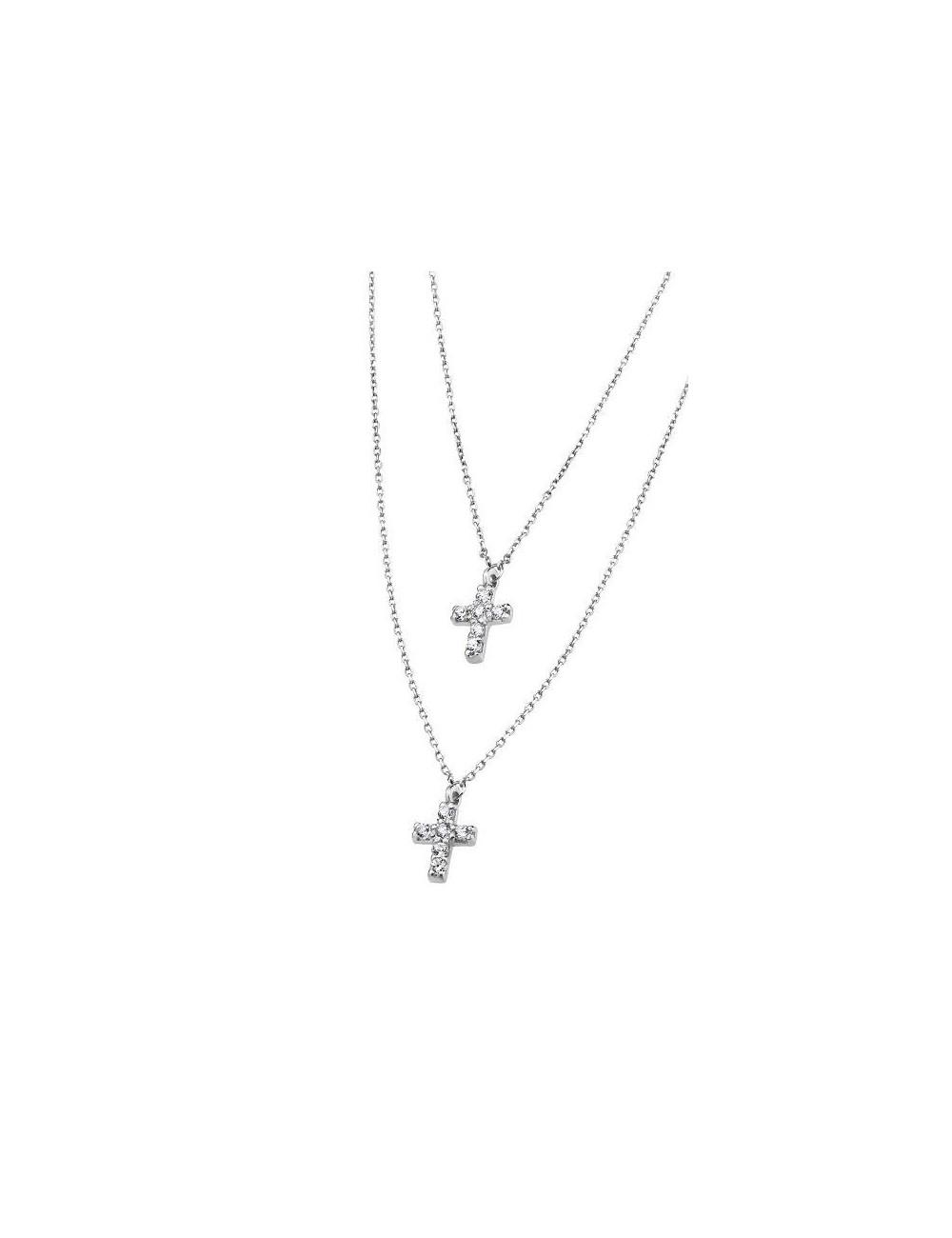 Gargantilla plata doble cadena con cruces circonitas Lotus Silver LP1243-1/1