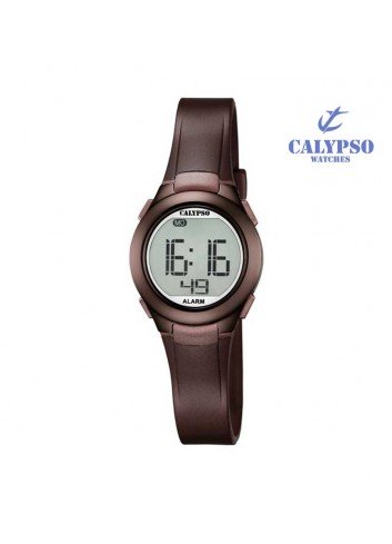 reloj-calypso-digital-goma-marron-k56776