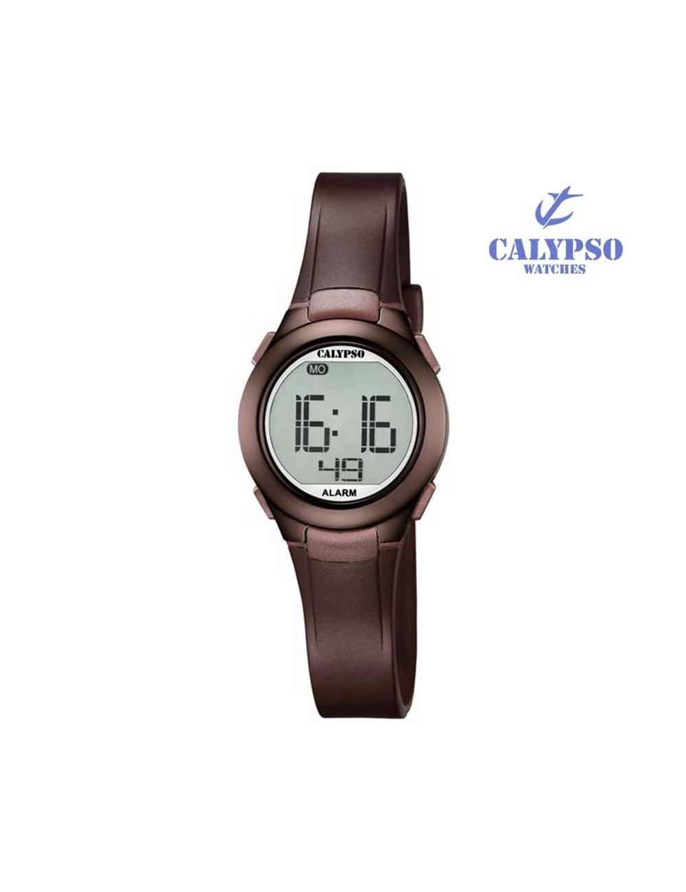 reloj-calypso-digital-goma-marron-k56776