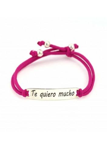 """Pulsera  """"Te quiero mucho"""" en plata y goma fucsia"""