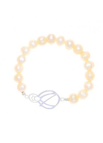 Pulsera Virgen de la Cabeza calada perlas extensible