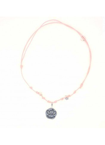 Gargantilla CUIDAME angelote plata cordón rosa