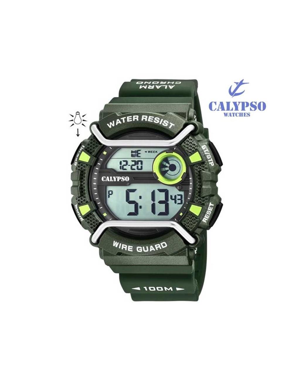 3b223737ce76 Reloj Calypso hombre digital verde silicona K5764-5