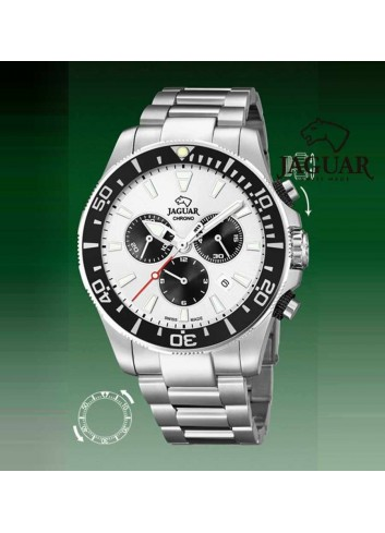 Reloj Jaguar hombre diver negro blanco cronografo bisel J861-1