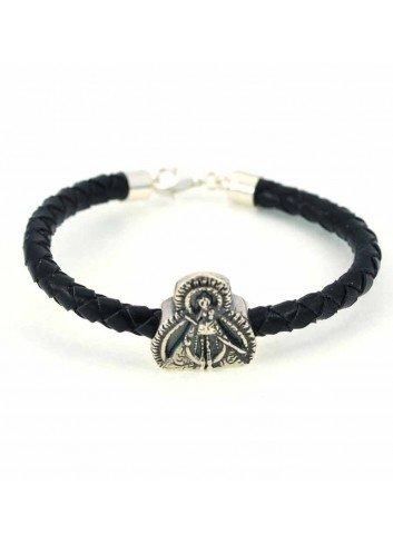 Pulsera Virgen de la Cabeza cuero trenzado negro abalorio