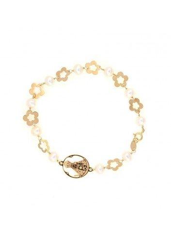 Pulsera Virgen  Cabeza oro perlas flores