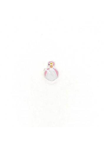Abalorio Virgen de la Cabeza plata esmalte rosa
