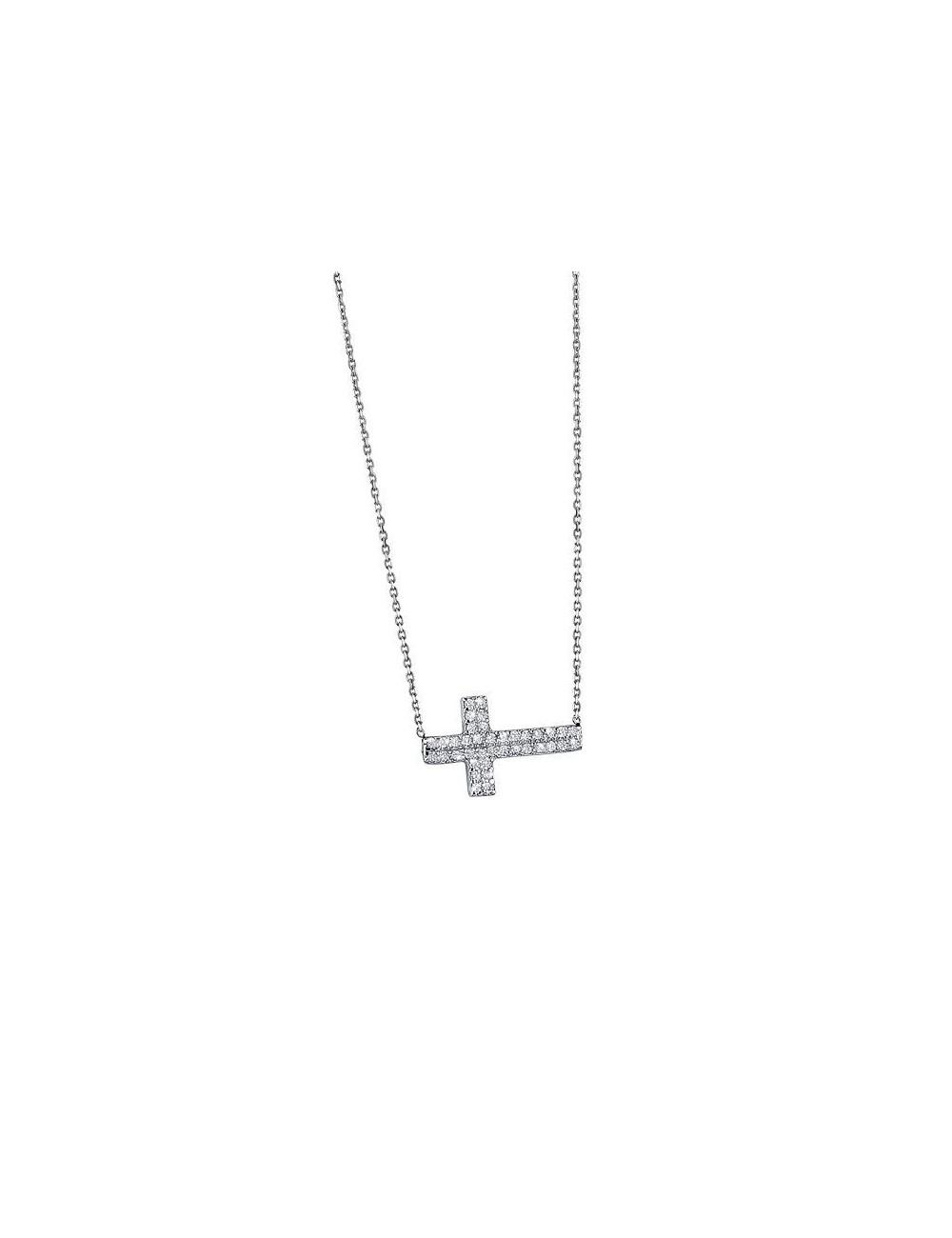 Gargantilla plata cruz de circonitas Lotus Silver LP1505-1/1