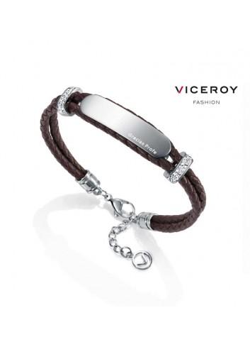 pulsera-mujer-gracias-profe-viceroy-doble-cuero-trenzado-marron